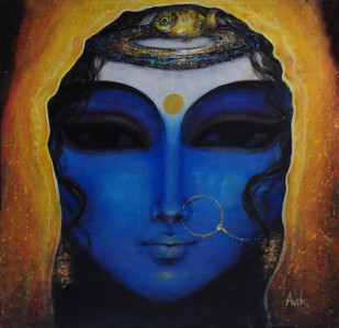 Swamwar of Krishnaa by Avik Chakraborty, Impressionism Painting, Acrylic on Canvas, Blue color