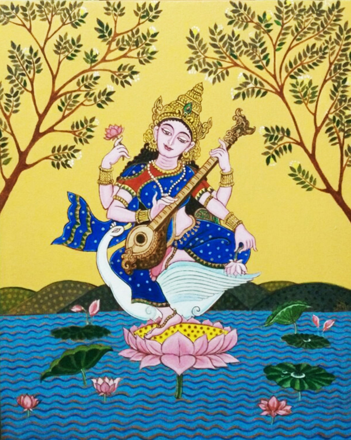 Saraswati by Pradip Sarkar, Decorative Painting, Acrylic on Canvas, Beige color