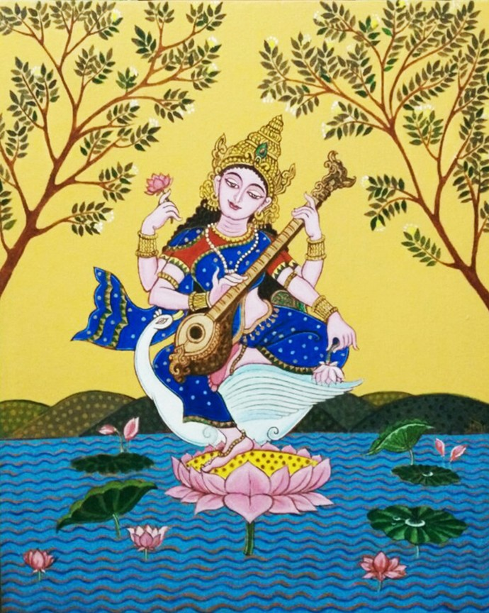 Saraswati Digital Print by Pradip Sarkar,Decorative