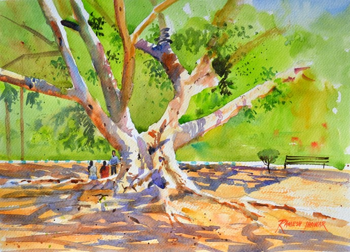 Chit chat by Ramesh Jhawar, Impressionism Painting, Watercolor on Paper, Green color