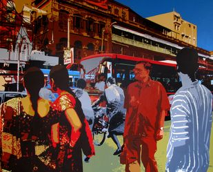 City 1 by Amit Nayek, Pop Art Painting, Acrylic on Canvas, Brown color