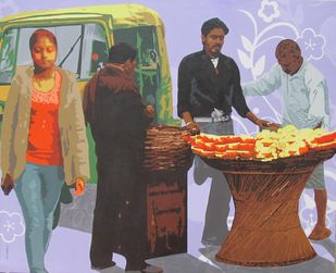 Fruit Seller by Amit Nayek, Pop Art Painting, Acrylic on Canvas, Brown color