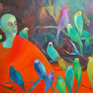 Silence all Thought by Prenita Dutt, Decorative Painting, Oil on Canvas, Brown color