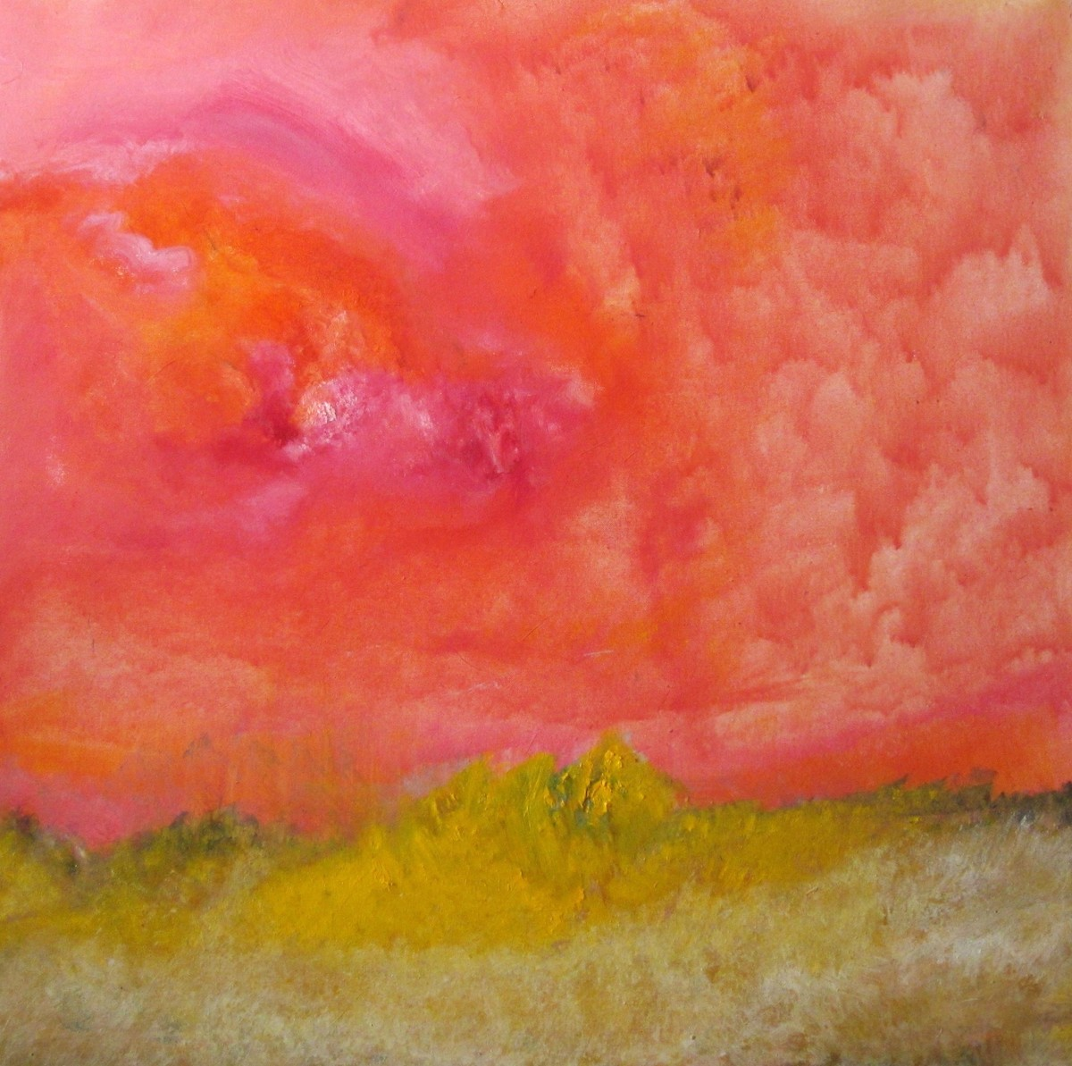 Bloom by Michael J. Ryan, Abstract Painting, Oil on Canvas, Red color