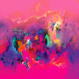 Untitled 602 by Sunil Balkawade, Abstract Painting, Mixed Media on Canvas, Pink color