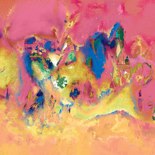 Untitled 603 by Sunil Balkawade, Abstract Painting, Mixed Media on Canvas, Pink color