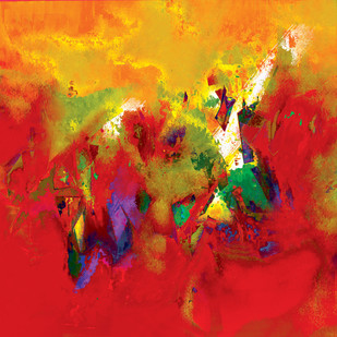Untitled 605 by Sunil Balkawade, Abstract Painting, Mixed Media on Canvas, Red color