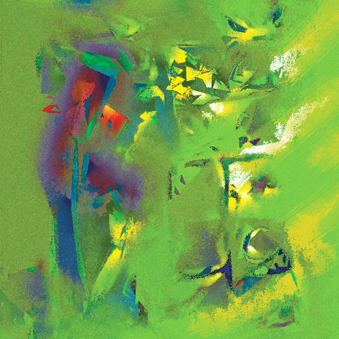 Untitled 608 by Sunil Balkawade, Abstract Painting, Mixed Media on Canvas, Green color
