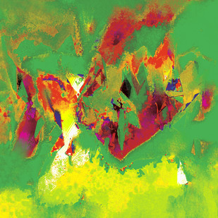 Untitled 611 by Sunil Balkawade, Abstract Painting, Mixed Media on Canvas, Green color