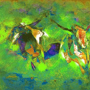 Untitled 617 by Sunil Balkawade, Abstract Painting, Mixed Media on Canvas, Green color