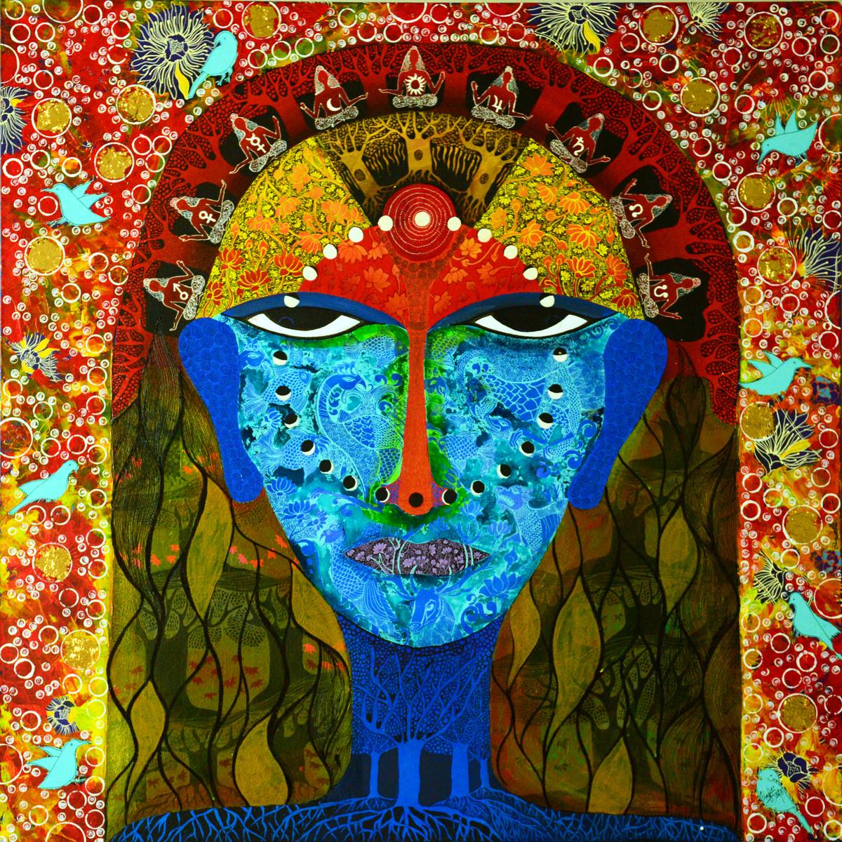 Samahita by Pragati Sharma Mohanty, Traditional Painting, Mixed Media on Canvas, Brown color
