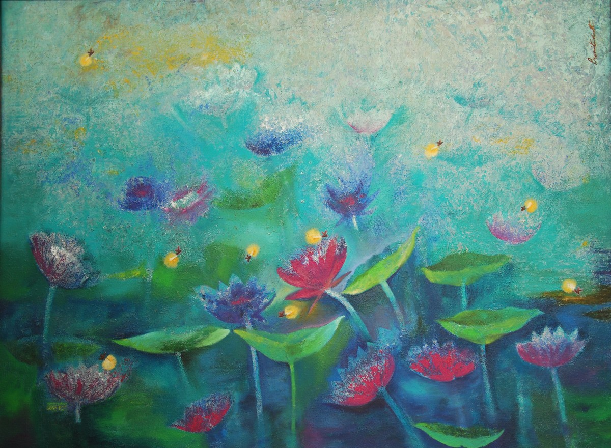 Lotus and Fireflies Digital Print by Prenita Dutt,Impressionism