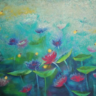 Lotus and Fireflies by Prenita Dutt, Impressionism Painting, Oil & Acrylic on Canvas, Green color