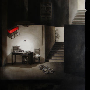 Life Corner 01-2014 by Shrikant Kolhe, Realism Painting, Acrylic on Canvas, Black color