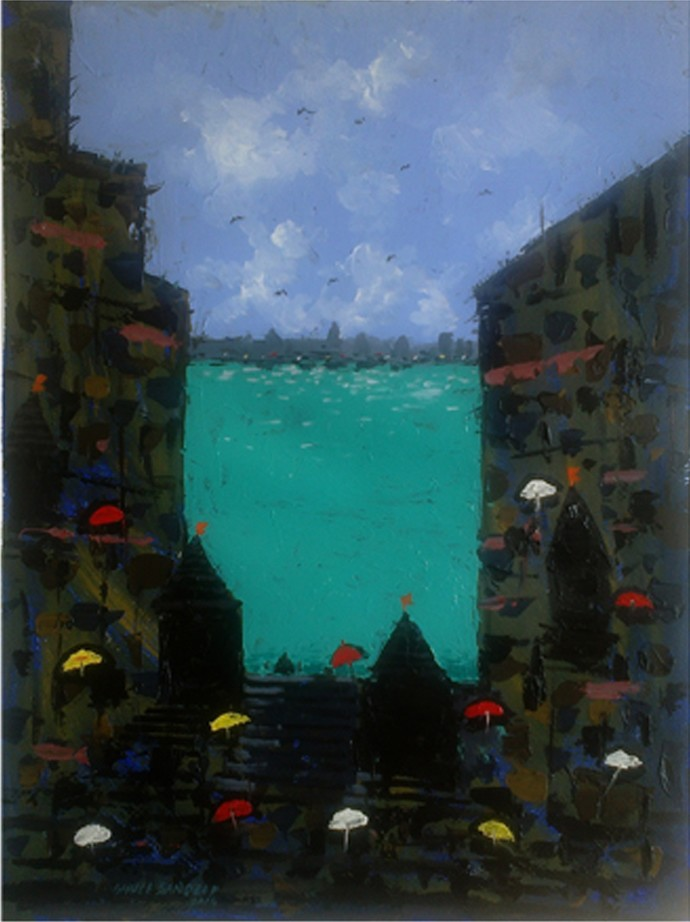 Banaras I by Sandeep Ghule, Impressionism Painting, Acrylic on Paper, Blue color