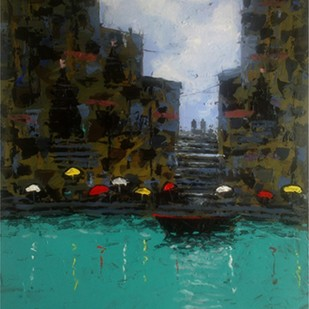 Banaras IV by Sandeep Ghule, Impressionism Painting, Acrylic on Paper, Cyan color