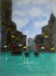 Banaras V by Sandeep Ghule, Impressionism Painting, Acrylic on Paper, Cyan color