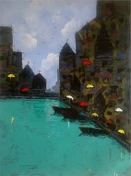 Banaras VI by Sandeep Ghule, Impressionism Painting, Acrylic on Paper, Cyan color