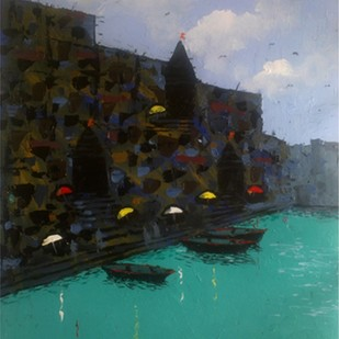 Banaras VII by Sandeep Ghule, Impressionism Painting, Acrylic on Paper, Cyan color