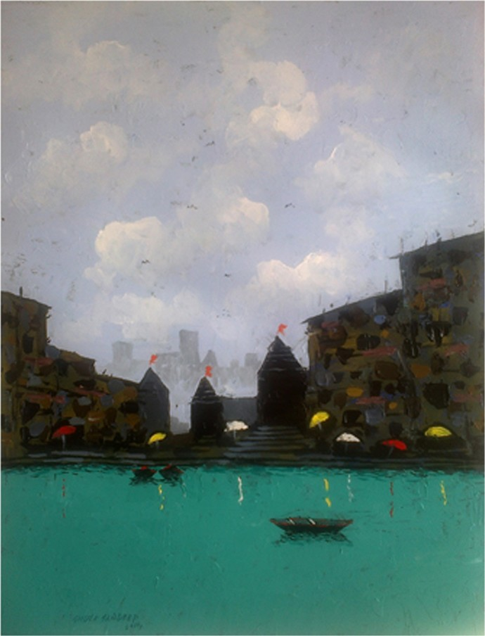 Banaras VIII by Sandeep Ghule, Impressionism Painting, Acrylic on Paper, Gray color