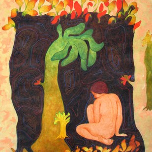 Nature Soul by Monica Ghule, Surrealism Painting, Acrylic on Canvas, Brown color