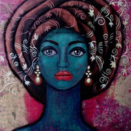Girl with beautiful thoughts by Suruchi Jamkar, Decorative Painting, Acrylic on Canvas, Blue color