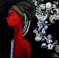 The mind that weaves designs by Suruchi Jamkar, Decorative Painting, Acrylic on Canvas, Black color