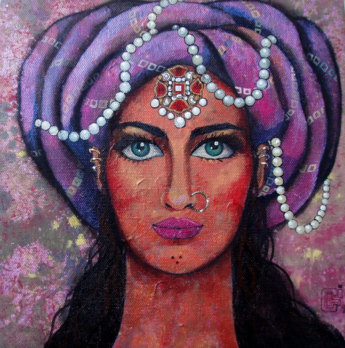 Bejewelled III by Suruchi Jamkar, Decorative Painting, Acrylic on Canvas, Brown color