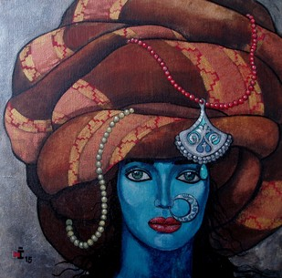 Blue girl with a big turban Print By Suruchi Jamkar