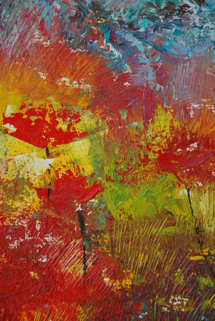 Wild Nature by Prenita Dutt, Impressionism Painting, Oil on Canvas, Brown color