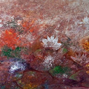 Forever in Bloom by Prenita Dutt, Impressionism Painting, Oil & Acrylic on Canvas, Brown color