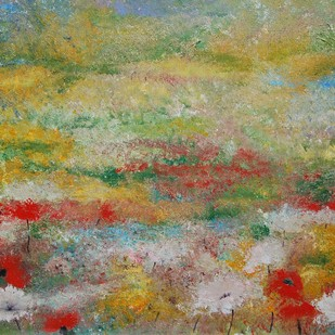 Wild Poppies by Prenita Dutt, Impressionism Painting, Acrylic on Canvas, Brown color