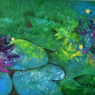 Forever in Bloom 2 by Prenita Dutt, Impressionism Painting, Oil & Acrylic on Canvas, Green color