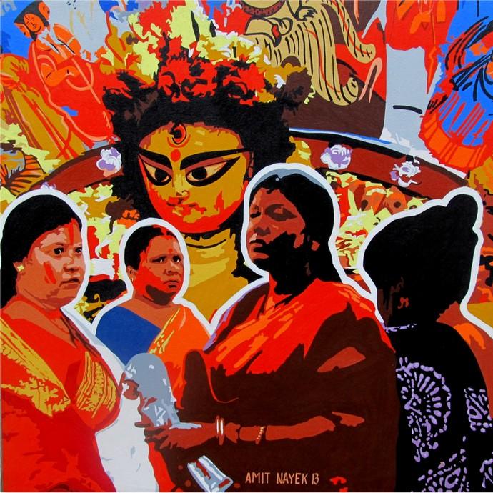 Durga Digital Print by Amit Nayek,Pop Art