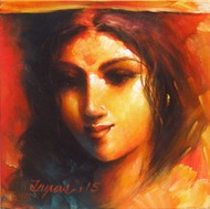 Face - 14 by Tapas Sardar, Expressionism Painting, Acrylic on Canvas, Brown color