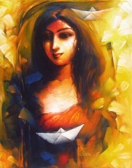 Dream by Tapas Sardar, Expressionism Painting, Acrylic on Canvas, Brown color