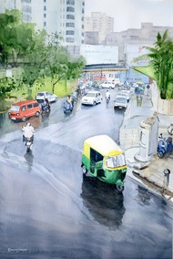 A Rainy Day by Ramesh Jhawar, Impressionism Painting, Watercolor on Paper, Cyan color