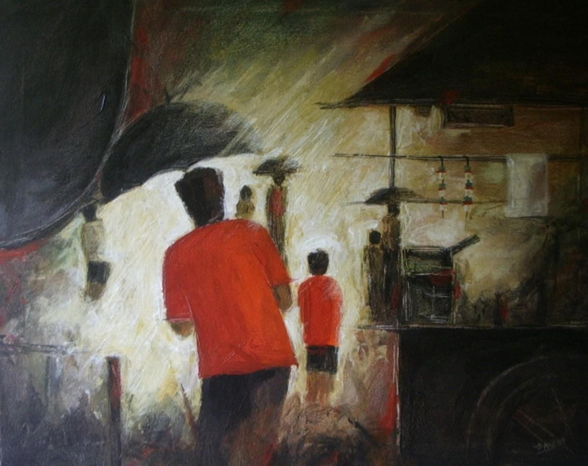 Tea stall by Atul Virkar, Painting, Acrylic on Canvas, Brown color