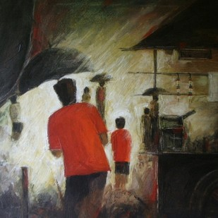 Tea stall by Atul Virkar, Painting, Acrylic on Canvas, Brown color