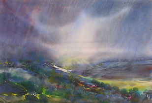 Dancing Rain by Sunil Kale, Impressionism Painting, Mixed Media on Paper, Brown color