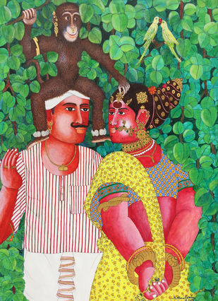 Couple With Monkey by Narahari Bhawandla, Decorative Painting, Acrylic & Ink on Canvas, Green color