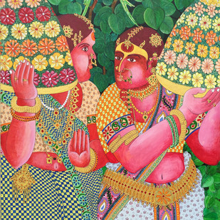 Bathkamma by Narahari Bhawandla, Decorative Painting, Acrylic & Ink on Canvas, Brown color