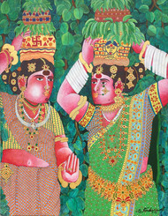 Bonalu by Narahari Bhawandla, Decorative Painting, Acrylic & Ink on Canvas, Green color