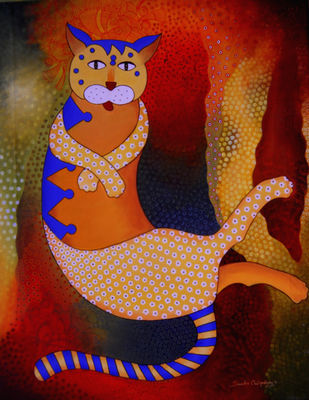 Cat by Sumitra Chattopadhyay, Fantasy Painting, Acrylic on Canvas, Brown color