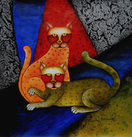 Dancing cats by Sumitra Chattopadhyay, Fantasy Painting, Acrylic on Canvas, Brown color
