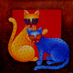 Fighter by Sumitra Chattopadhyay, Fantasy Painting, Acrylic on Canvas, Red color