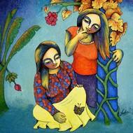 Sakhiyan 3 by Neeta Singh, Decorative Painting, Acrylic on Canvas, Green color
