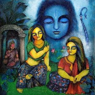 Sakhiyan 4 by Neeta Singh, Decorative Painting, Acrylic on Canvas, Green color
