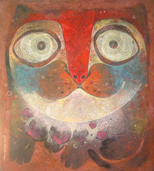 The cat by Atish Mukherjee, Expressionism Painting, Tempera on Canvas Board, Brown color