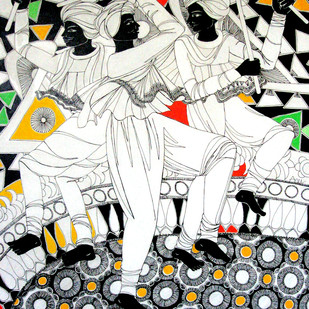 Music of Life 2 by Anuradha Thakur, Traditional Painting, Acrylic & Ink on Canvas, Gray color